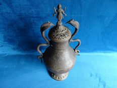 Bronze vase/urn with Brahma lid and Cobra handles - India - early 20th century