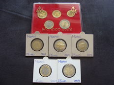 Monaco - Series 10 cents through 2 Euro 2002 - separate coins 2007/2015 (10 pieces in total)