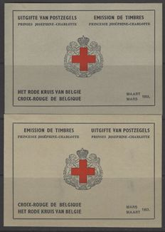 Belgium - Stamp booklets Red Cross with 8 x Princess Joséphine-Charlotte - OBP numbers 914A and B