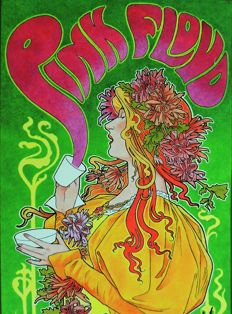 """Extraordinary rare PINK FLOYD  SYD BARRETT psychedelic """""""" Dance"""" Concert Poster 1966"""