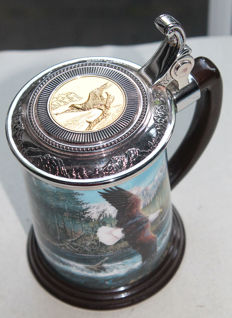 "Franklin Mint 1999 - Beer-stein with lid - ""Eagle, predator of the skies"""