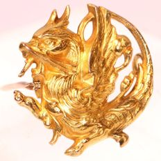 Art Nouveau yellow gold brooch of griffin, anno 1890