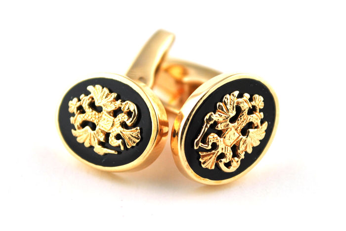 Cuff-links with Two-headed Eagle Coat of Arms set on Black Onyx and made of 14k Red Gold (Stamped)