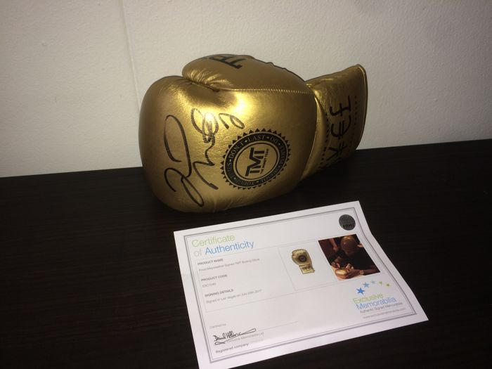 Floyd Mayweather Jr. - Original Signed Gold TMT Boxing Glove + COA and Photoproof!