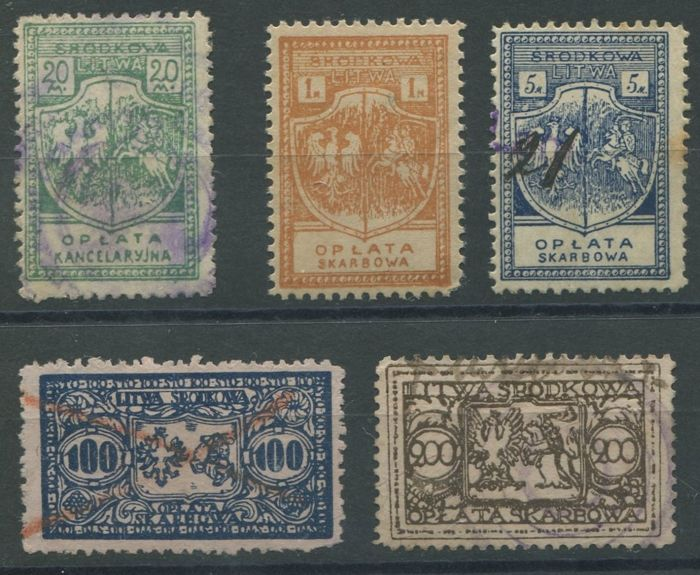Republic of Central Lithuania or Middle Lithuania - Revenues stamps