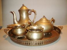 Silver plated yellow copper coffee and tea set