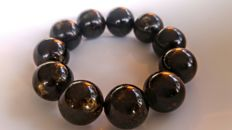 Round beads modified Baltic Amber Black - Landscape colours Bracelet, Hole ca. 58 mm