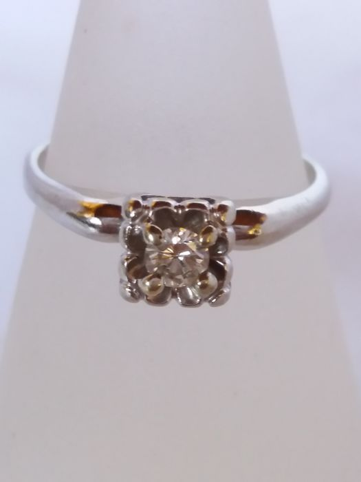 Solitaire Ring with a brilliant cut diamond, 0.20 ct, colour H, clarity vs 1