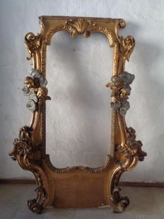 Large frame mirror in carved, gilded and silver wood - Rococo style - Italy - mid 18th century