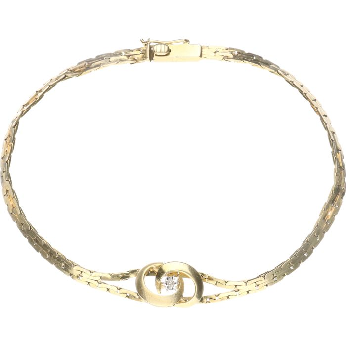 14 kt – Yellow gold, two-row luna link bracelet with a stylised centrepiece set with white sapphire in a white gold setting – Length: 18 cm.