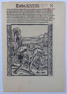 1 sheet engraved by Haintz Nar Meister (att. 1490) - Turba XXVII. X,  Multorum beneficis  'Folle con l'asino' - 1511