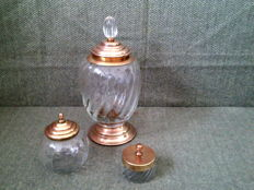3 - Large Pot with Lid & Candy Container & Sugar Bowl  - Glass & Brass -   Vintage