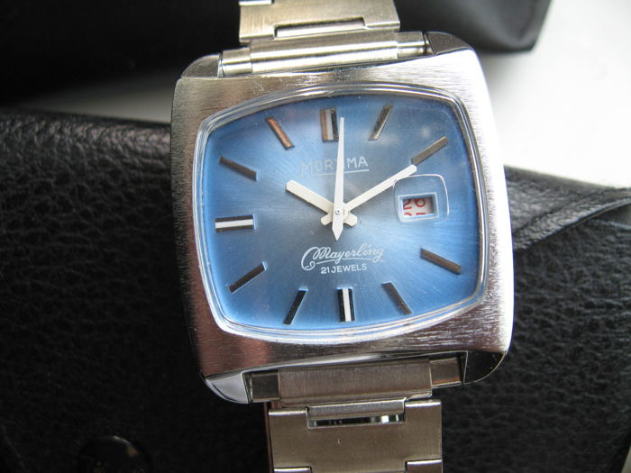 Mortima Mayerling NOS stainless steel watch gents wristwatch vintage 1970s no box