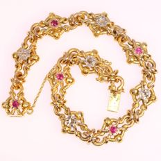 Charm Late Victorian gold bracelet with diamond - ca. 1900