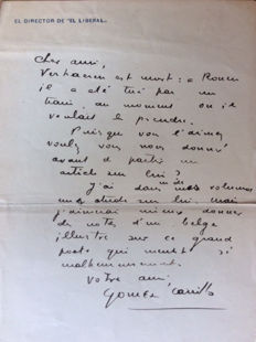 Autographed letter by the writer Gómez Carrillo (accused of betraying the famous spy Mata Hari) - 1916