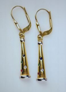 Yellow gold dangle earrings (hoop) with diamond, sapphire, emerald and ruby