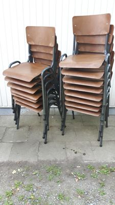 Set of fifteen industrial school chairs, dark plastic seats and tube frame - stackable - Netherlands/Belgium - 1960s