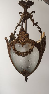 Bronze hall luster with crystal faceted glass - France - circa 1900