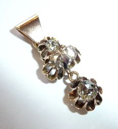 Elegant pendant in 14 kt/585 gold with approx. 1.1 ct Diamonds in antique rose cut