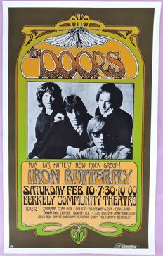 """Extraordinary rare Doors / Iron Butterfly  psychedelic """""""" Dance"""" Concert Poster 1967"""