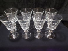 8 water glasses, crystal, Canton model.