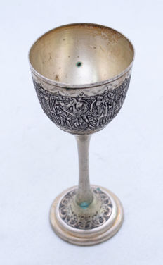 Cup - Goblet - Silver 84 - King's Guard - Handmade Drawings - Ispahan - Persia - ca. 1920's