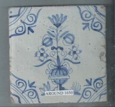 Tile with a flower vase