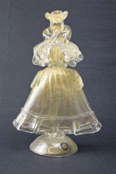 """Paolo Rubelli (Rubelli glassworks) - collectable sculpture """"gold leaf Venetian lady"""""""