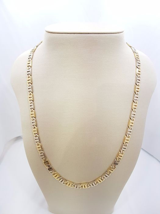 18ct Two Tone Flat Yellow & White Gold Chain - 60cm