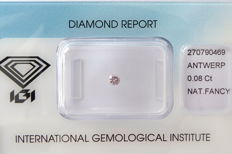 Natural Fancy Light Greyish Pink Diamond 0.08 ct  with IGI cert *** no minimum price***