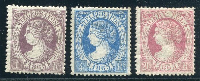 Spain 1865 - Telegraph issues. Isabel II - Edifil  9a, 10, 12