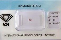 Natural Fancy Pink Diamond 0.11 ct  with IGI cert