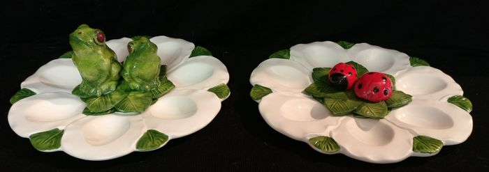Pair of Bassano ceramic egg dishes, hand-painted - Italy, Cortina d'Ampezzo