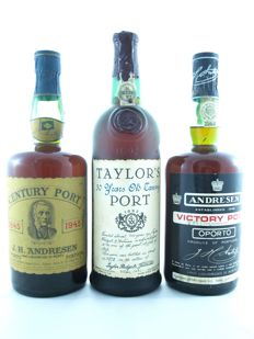 Taylor's 30 Years Old Tawny (bottled in 1978) & J.H. Andresen Century Port & J.H. Andresen Victory Port - 3 bottles total