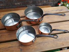4 cooking frying, roasting or sauce pans red copper  tinned bottom handle cast iron 3.5 kg