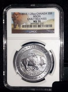 Canada - 8 Dollars 2015 'Bison' - 1.25 oz Silver