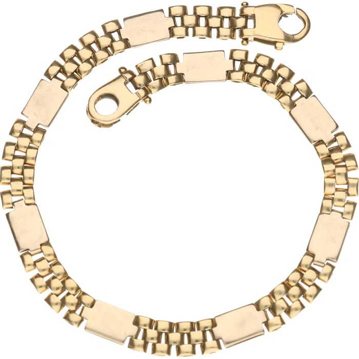 14 kt – Bi-colour, yellow/white gold Rolex link bracelet – Length: 18 cm