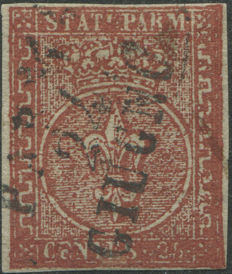 Parma – C.25 Brown-Red, with Parma cancellation –  Sass. No. 8