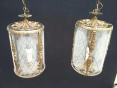 Pair of crystal and brass chandeliers - Baroque - Italy, circa 1900