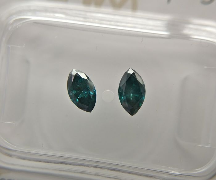 Lot of 2 Marquise cut diamonds total 0.47 ct Fancy Dark Greenish Blue SI2-SI3