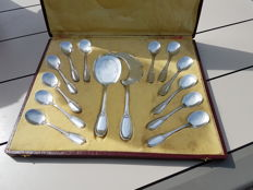 Antique ice serving set with 12 spoons with a scoop and cutter empire 1820