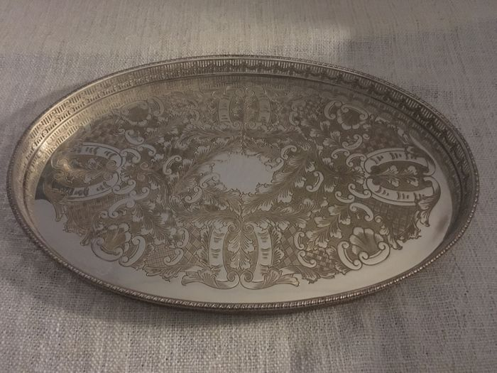 "Vintage silver plated gallery oval tray with embosed decorated design centre and raised Pierced side "" VINERS OF SHEFFIELD "" ENGLAND second half of 19th century"