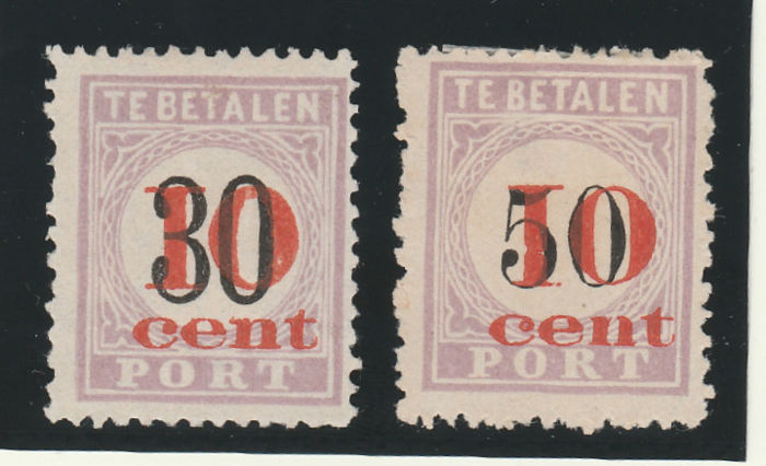 Suriname 1911 - Postage due 1886/1888 with red overprint ¨10 cent¨ - NVPH P15/P16