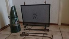 Beautiful old wrought iron fireplace screen, coal scuttle and antique fire place tools