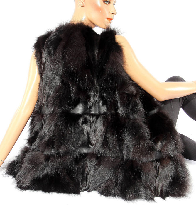 Modern fox fur vest, leather vest, dark horizontal stripes