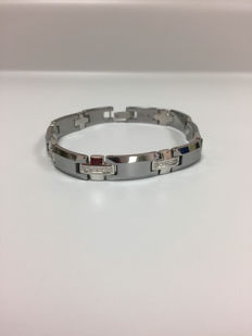 Bracelet stainless steel with 0.80ct diamond - 8,5 inches