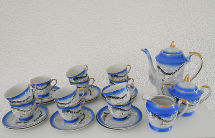 Kutani, Japanese lithophanie porcelain Tea Set Geisha Dragonware - Vintage.