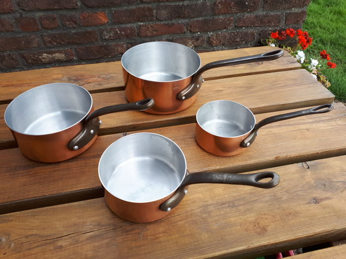 4 frying pans red copper tinned bottom cast iron handle made in France