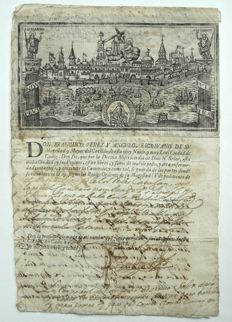 Spanish fleet; Original permission for berthing the ship El Padron in the ports of Cádiz and Barcelona (Spain) - 1622