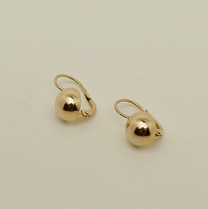 18kt gold dormeuses earrings - No reserve